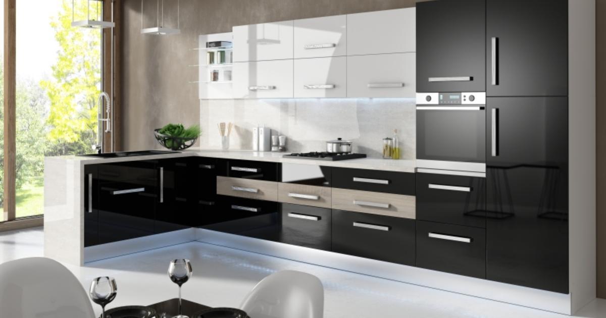 Kuchnia czarno biała Białe i czarne meble kuchenne w ar